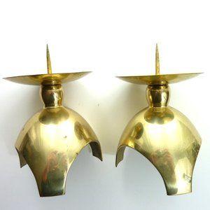 Vintage 3 Footed Brass Tapper Candle Holder